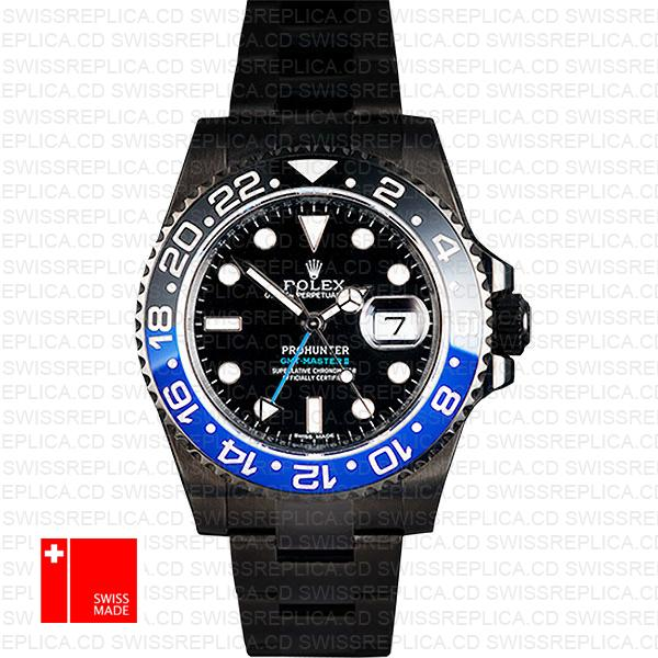 Rolex Gmt Master Ii Pro Hunter Dlc Blue Black Ceramic 40mm Oversized 116710 Replica