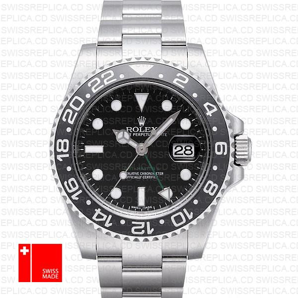 Rolex GMT-Master II 904L Steel Black Dial Ceramic Bezel | Replica Watch