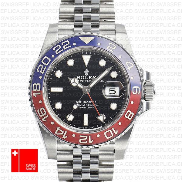 Rolex GMT-Master II Black Dial 40mm Pepsi Bezel | Swiss Replica Watch