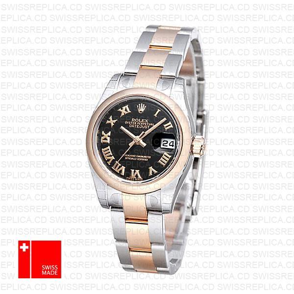Rolex Datejust 31mm Oyster Rg 2 Tone Black Roman 178241