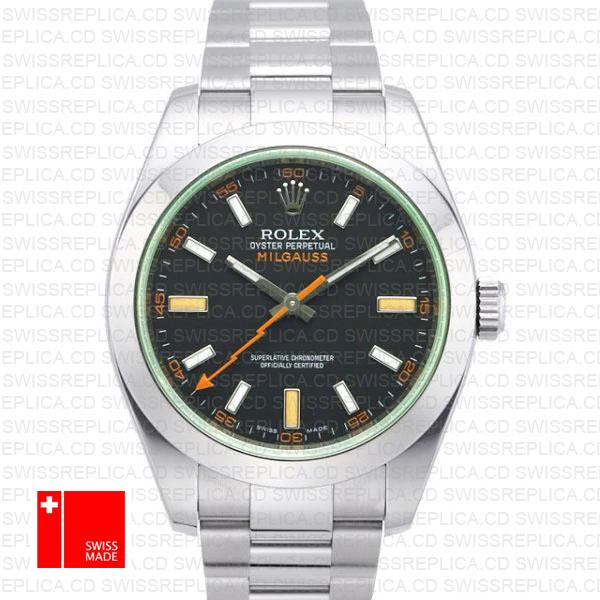 Rolex Milgauss Watch: Black Dial Green Crystal | Swiss Replica Watch