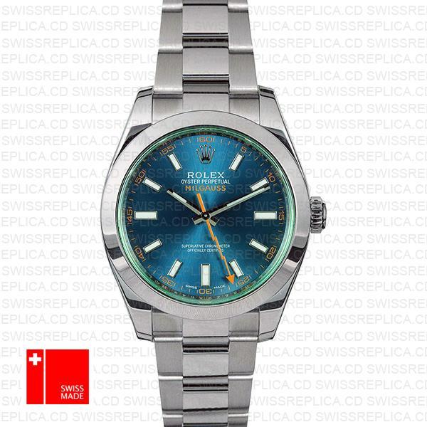 Rolex Milgauss 116400 Blue Dial Green Crystal | Swiss Replica Watch
