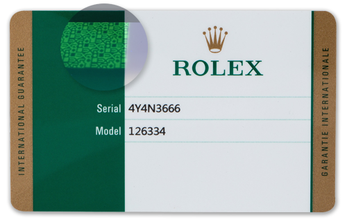 New Rolex Warranty Card with INFRARED HOLOGRAM