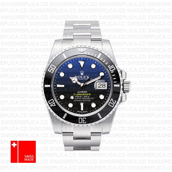 Rolex Submariner Blaken D Blue Dial Black Ceramic Bezel Steel