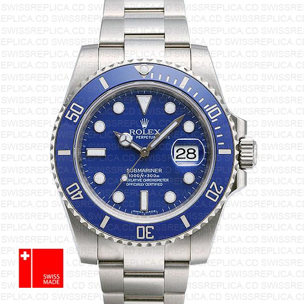 Rolex Submariner 18k White Gold Blue Ceramic 40mm 116619