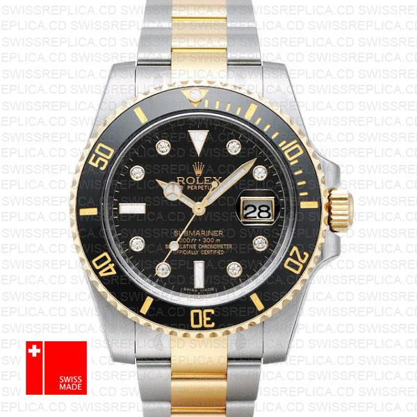 Rolex Submariner Two Tone Black Diamond Dial | Rolex Replica Watch