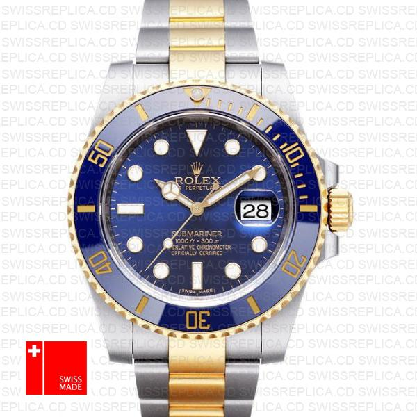 Rolex Submariner Blue Dial Two Tone 18k Yellow Gold & 904L Steel Watch