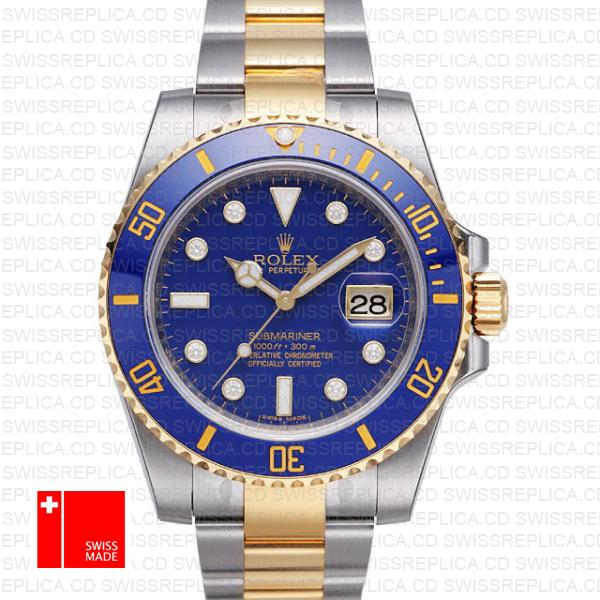 Rolex Submariner Two Tone Blue Diamond Dial | Swiss Replica Watch