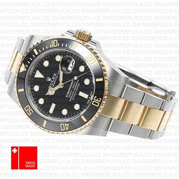 Rolex Submariner 41mm 2tone 904l Steel 18k Yellow Gold Wrap Black Dial Ceramic Bezel 126613ln Swiss Replica Watch