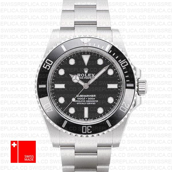 Rolex Submariner 41mm 904l Steel No Date Black Dial Ceramic Bezel 124060  Swiss Replica Watch