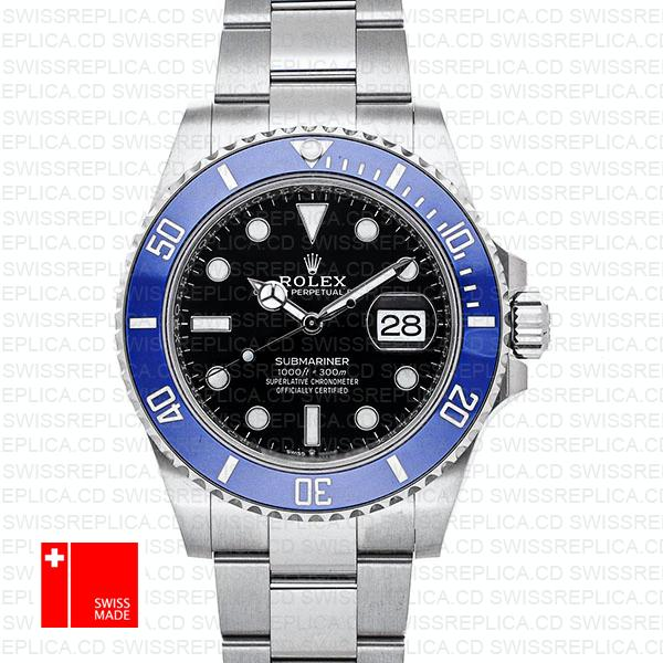 Rolex Submariner 41mm 904l Steel 18k White Gold Wrap Black Dial Blue Ceramic Bezel 126619lb Swiss Replica Watch