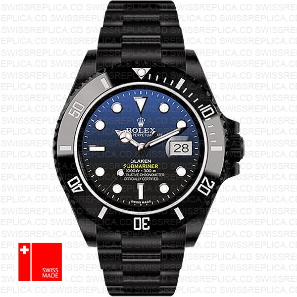 Rolex Submariner Blaken D Blue Dial Dlc Black Ceramic Bezel