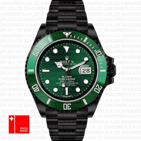 Rolex Submariner Blaken Green Dial Swiss Replica