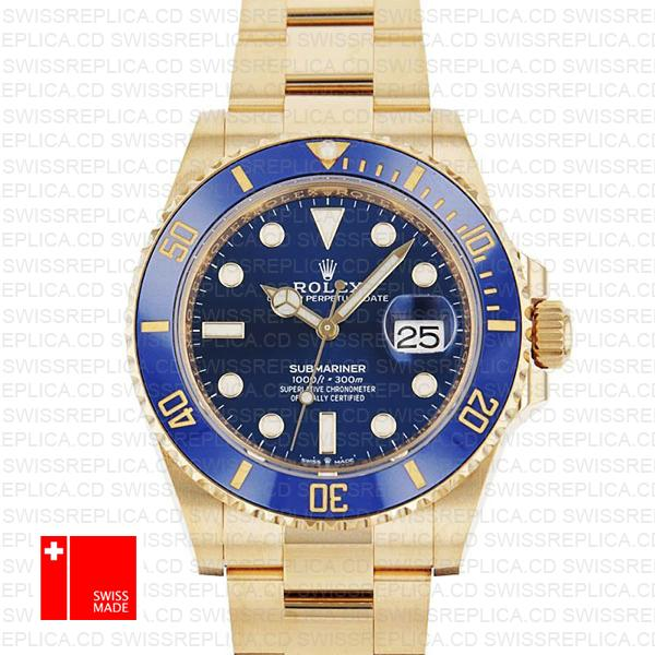 Rolex Submariner 41mm 18k Yellow Gold Wrap 904l Steel Black Dial Ceramic Bezel 126618lb Swiss Replica Watch