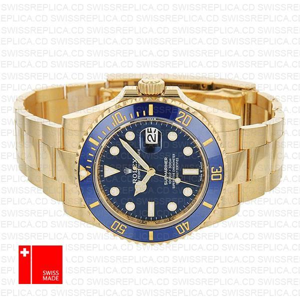 Rolex Submariner 41mm 18k Yellow Gold Wrap 904l Steel Black Dial Ceramic Bezel 126618lb Swiss Replica Watch