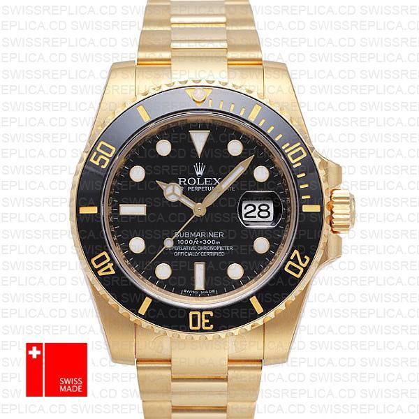 Rolex Submariner 16618 Yellow Gold Black Dial   Swiss Replica Watch