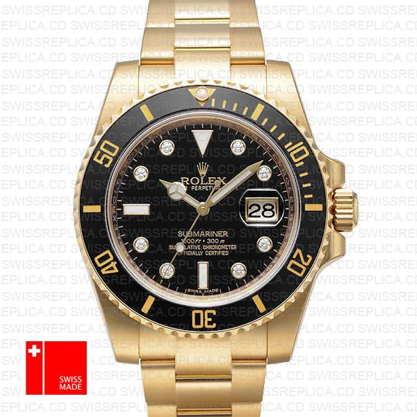 Rolex Submariner 18k Yellow Gold Black Diamonds Dial | Replica Watch