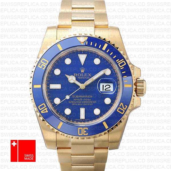 Rolex Submariner Blue Dial | 18k Yellow Gold Swiss Replica Watch