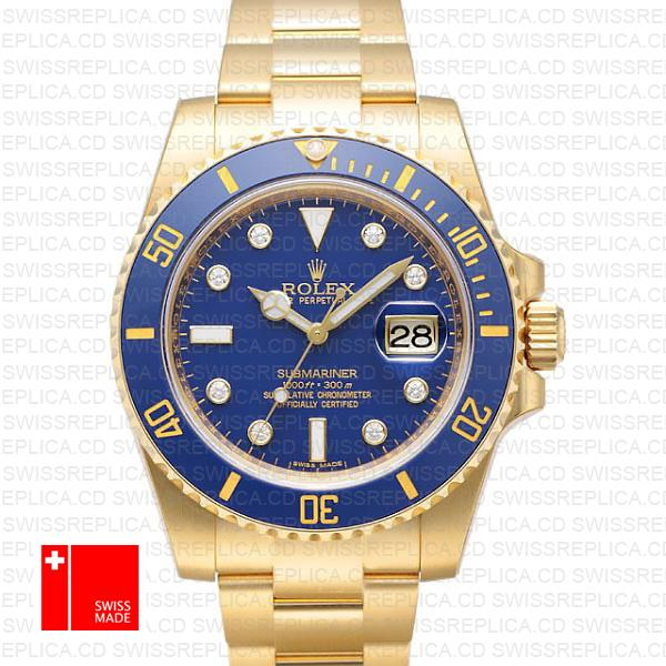 Rolex Submariner 18k Yellow Gold Blue Diamonds Dial | Rolex 116618