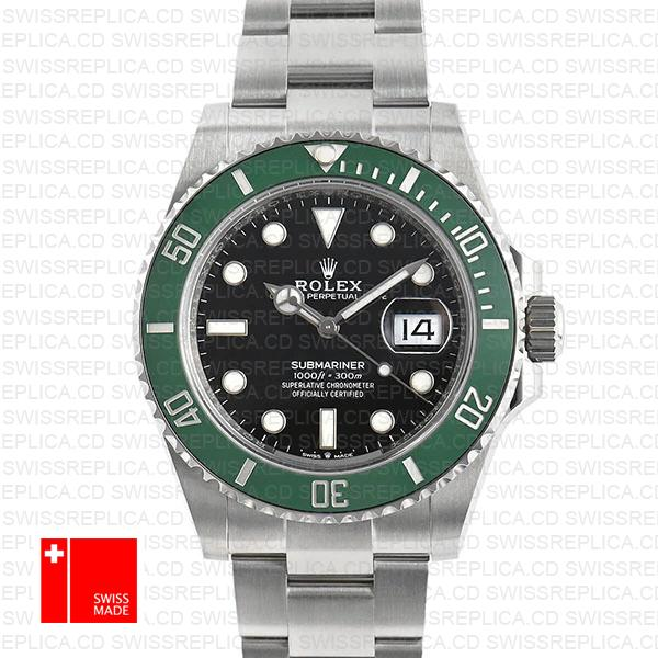 Rolex Submariner Kermit 41mm Green Ceramic Bezel 904l Steel 126610lv Swiss Replica