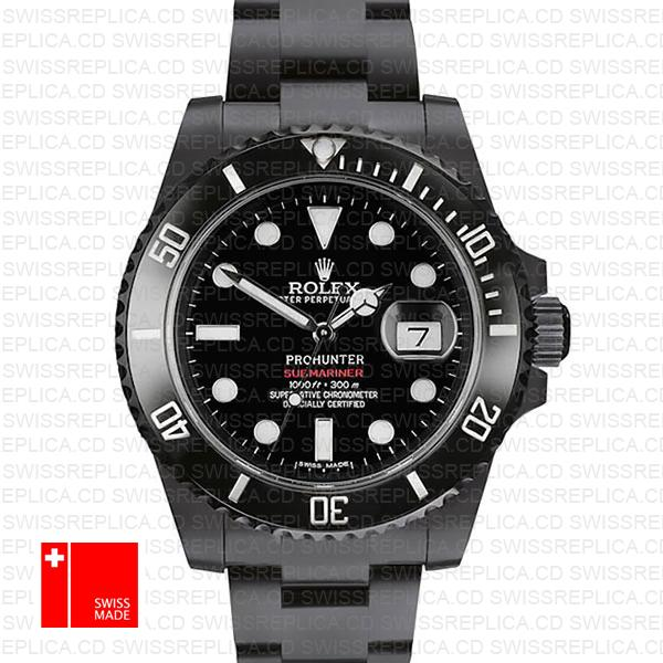 Rolex Submariner Prohunter Dlc Date Black Dial Ceramic Bezel 40mm Oversized 116610 Swiss Replica