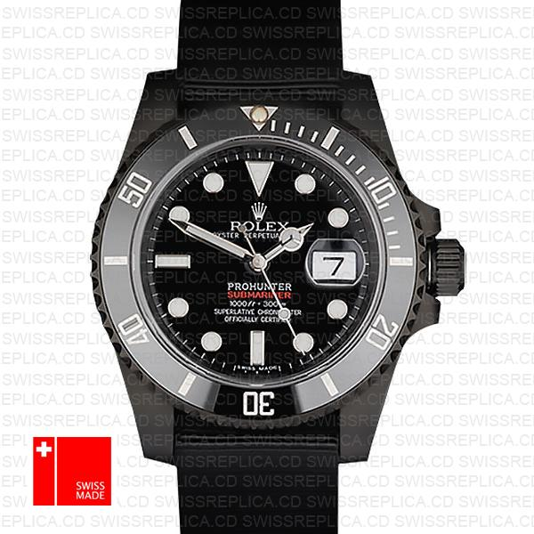 Rolex Submariner Prohunter Dlc Date Nato Black Dial Ceramic Bezel 40mm Oversized 116610