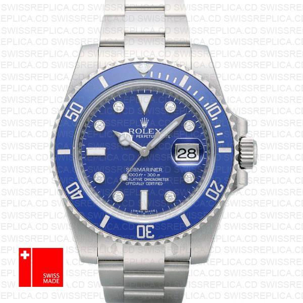 Rolex Submariner White Gold Blue Diamonds Ceramic 40mm 116619