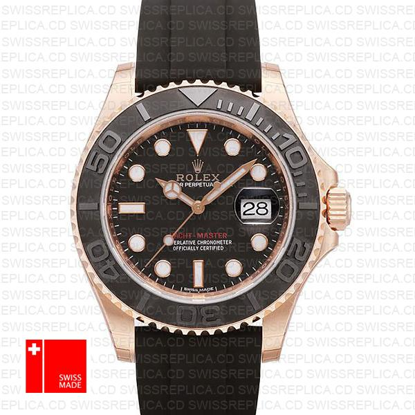 Rolex Yacht-Master II Rose Gold & Rubber Strap (116655) Replica Watch