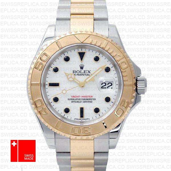 Rolex Yacht-Master 40mm Two Tone 18k Gold & White Dial Replica Watch
