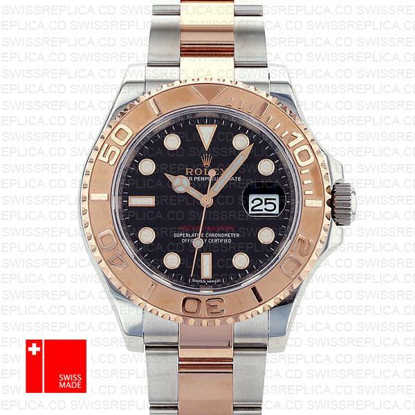 Rolex Yacht Master 2016 Rose Gold 2 Tone Black 40mm 116621