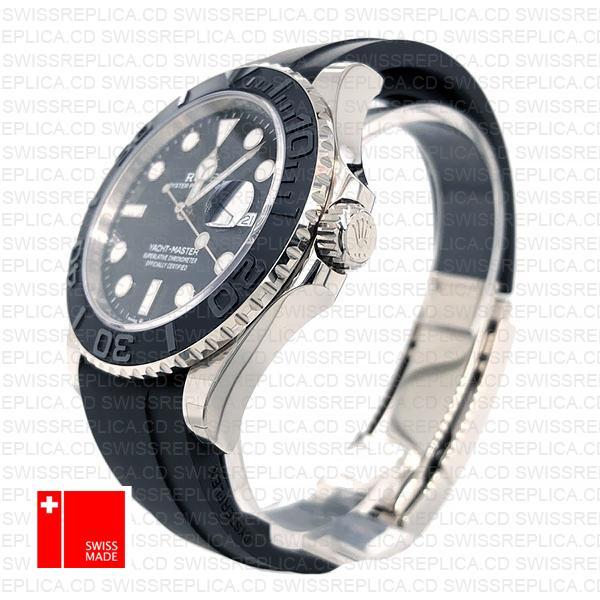 Rolex Yacht Master 42mm Rubber 18k White Gold 904l Steel Black Dial Ceramic Bezel 226659 Swiss Replica