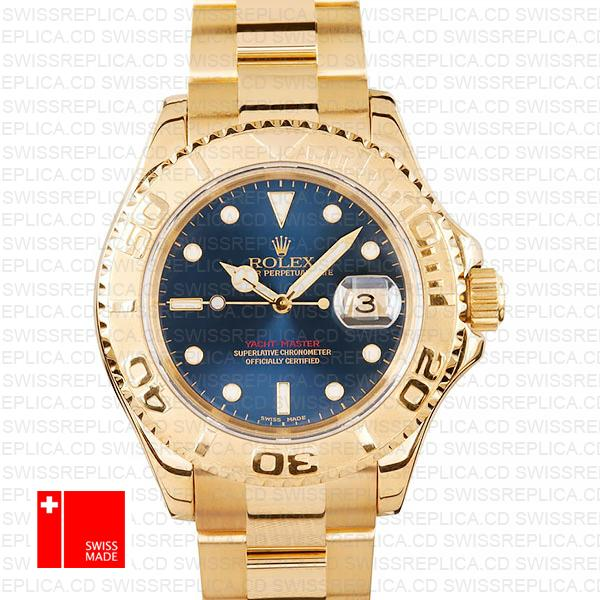 Swiss Replica Rolex Yacht Master 40 Watch | 18k Yellow Gold & Blue Dial