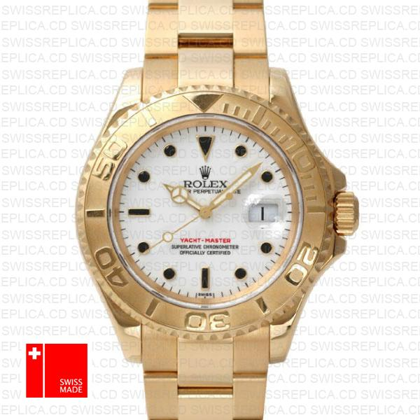 Rolex Yacht-Master 40mm 18k Yellow Gold & White Dial Replica Watch
