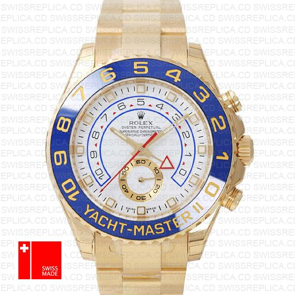 Rolex Yacht-Master II 44mm White Dial Blue Ceramic Bezel | Gold Watch
