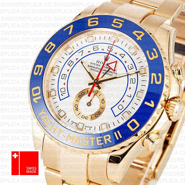 Rolex Yacht Master Ii 18k Yellow Gold White Dial Blue Ceramic Bezel 116688 44mm