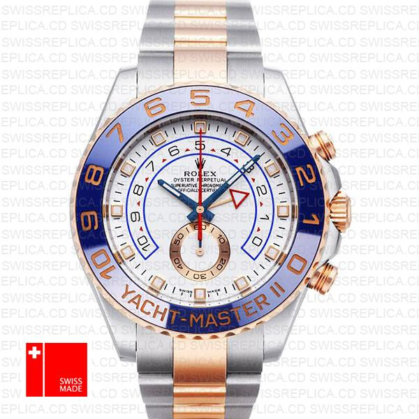Rolex Yacht Master II Rose Gold Two Tone White Dial Blue Ceramic Bezel